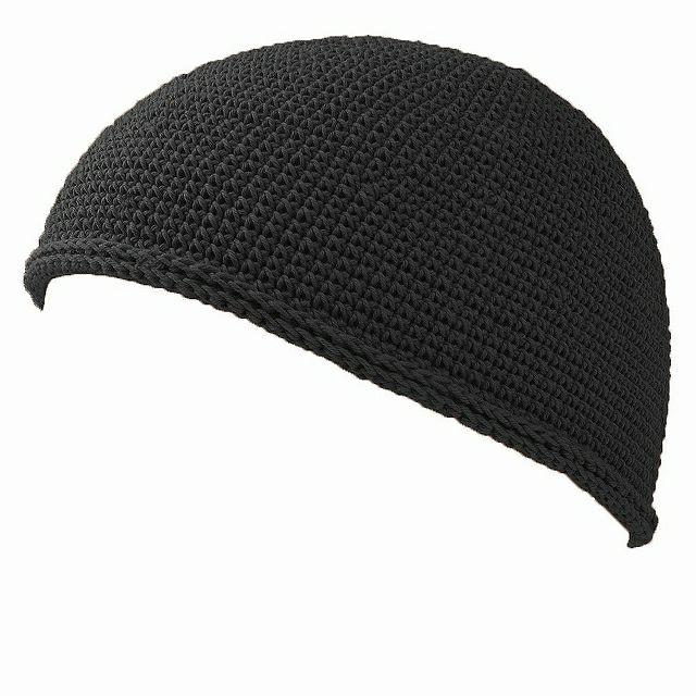 ブラックのNEWショート手編みイスラムキャップ