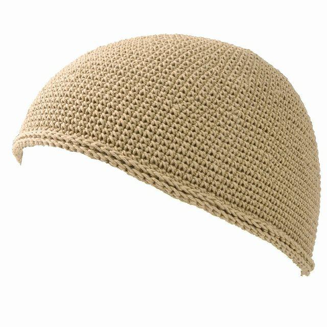 ベージュのNEWショート手編みイスラムキャップ