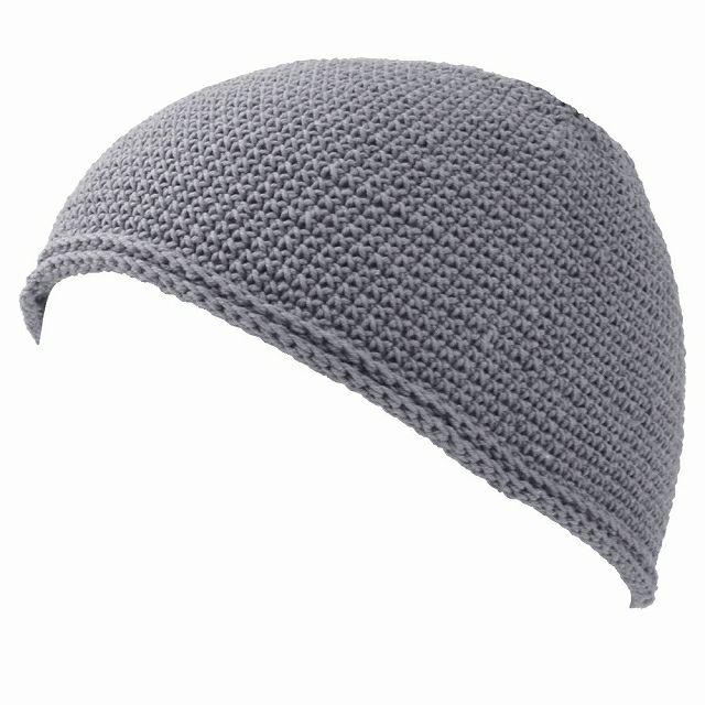 グレーのNEWショート手編みイスラムキャップ