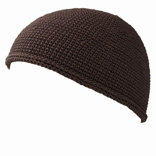 ダークグレーのNEWショート手編みイスラムキャップ