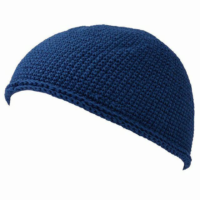 ネイビーのNEWショート手編みイスラムキャップ