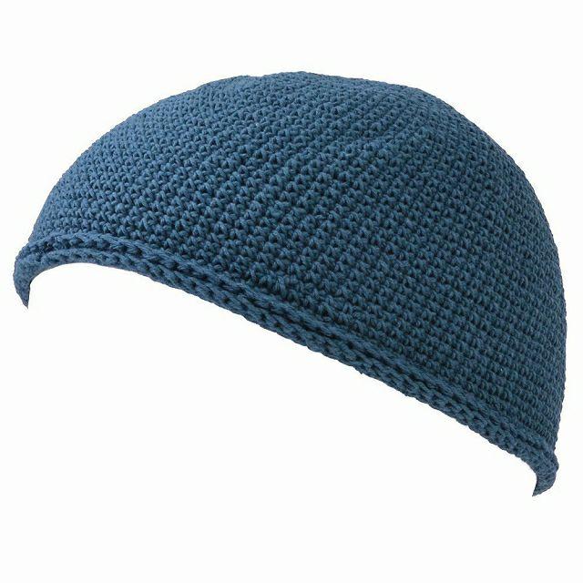 ブルーのNEWショート手編みイスラムキャップ