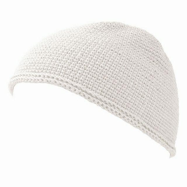 ホワイトのNEWショート手編みイスラムキャップ