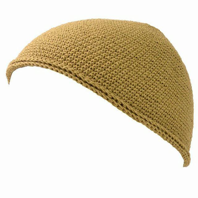 イエローベージュのNEWショート手編みイスラムキャップ