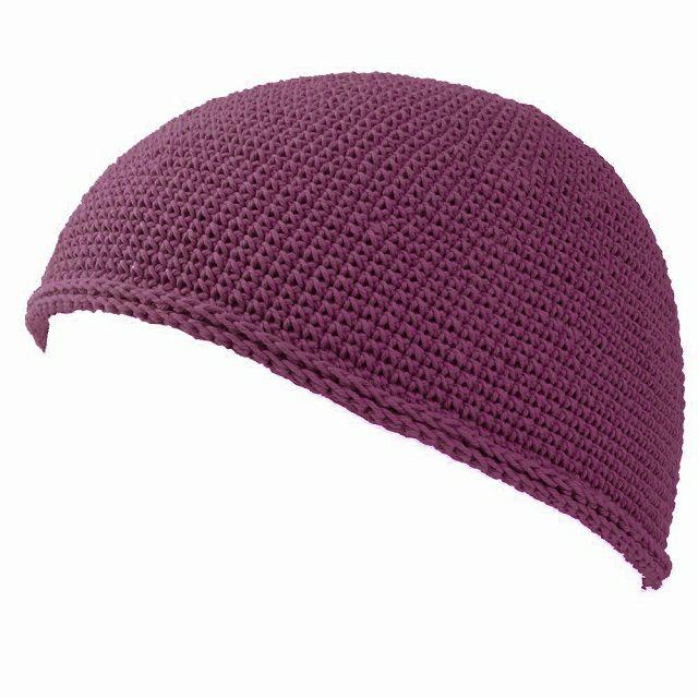 エンジのNEWショート手編みイスラムキャップ