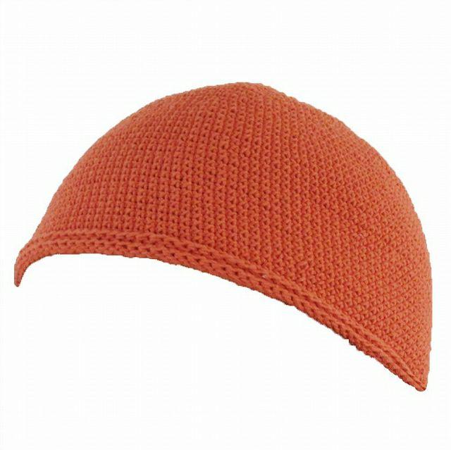 オレンジのNEWショート手編みイスラムキャップ