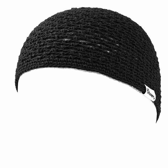 ブラックのメッシュ コットン 手編み イスラムキャップ
