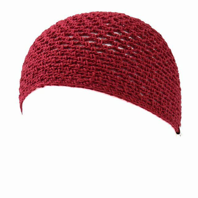 レッドのメッシュ コットン 手編み イスラムキャップ