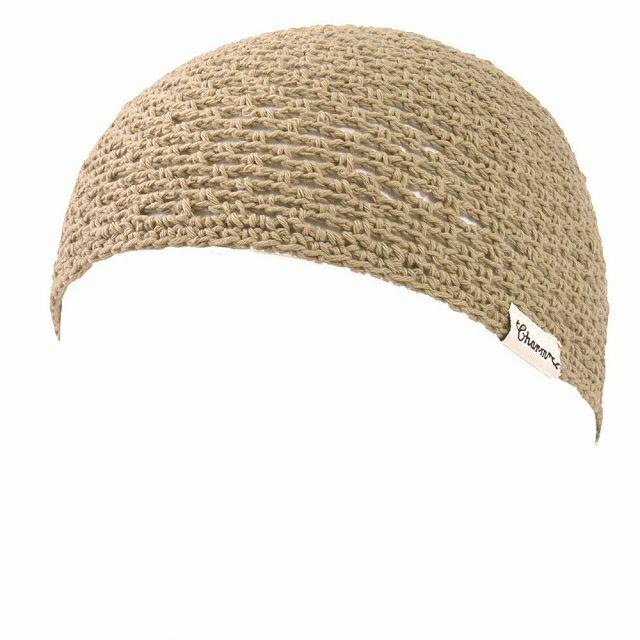 ベージュのメッシュ コットン 手編み イスラムキャップ
