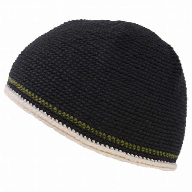 ブラックのダブル ライン 手編み コットン イスラムキャップ