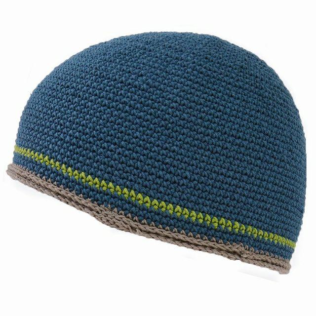 ブルーのダブル ライン 手編み コットン イスラムキャップ