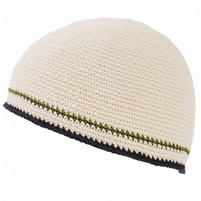 ホワイトのダブル ライン 手編み コットン イスラムキャップ