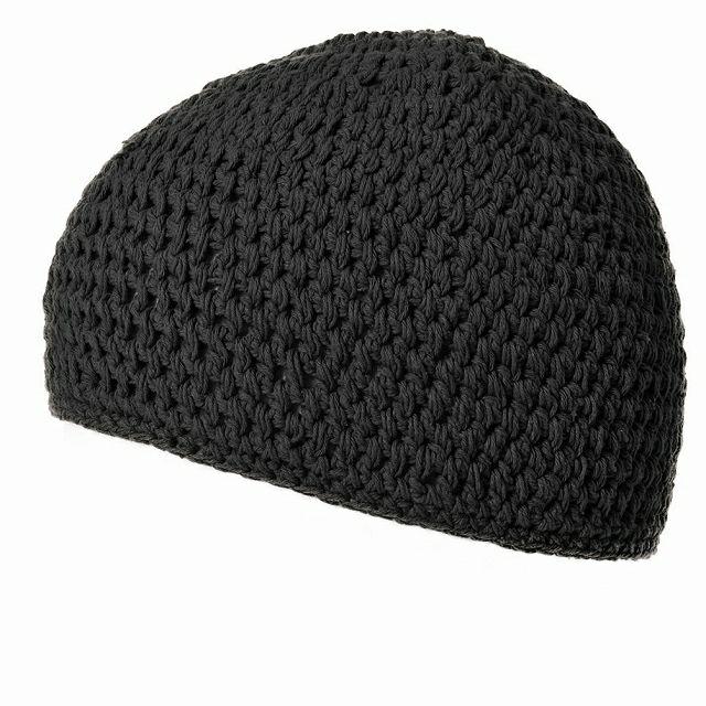 ブラックのビックサイズ ナチュラル 手編み コットン イスラムキャップ