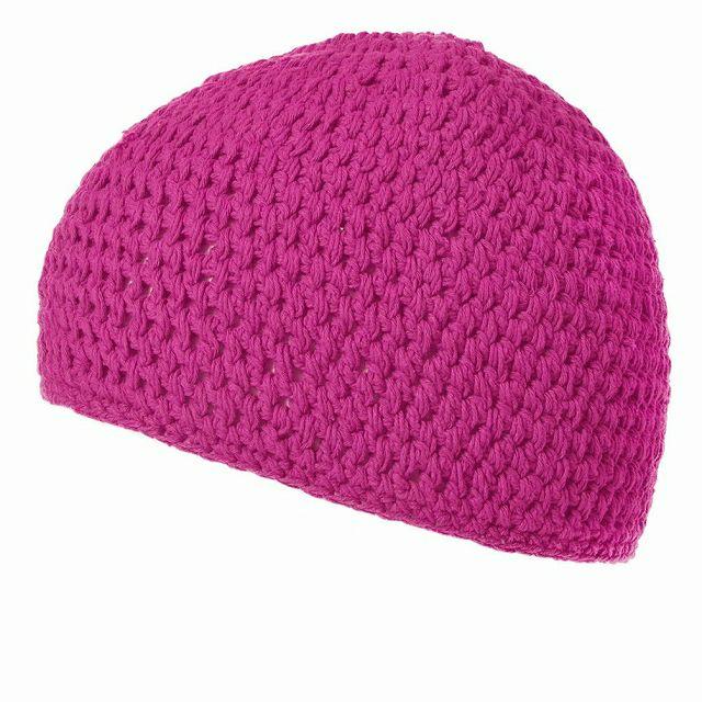 ピンクのビックサイズ ナチュラル 手編み コットン イスラムキャップ