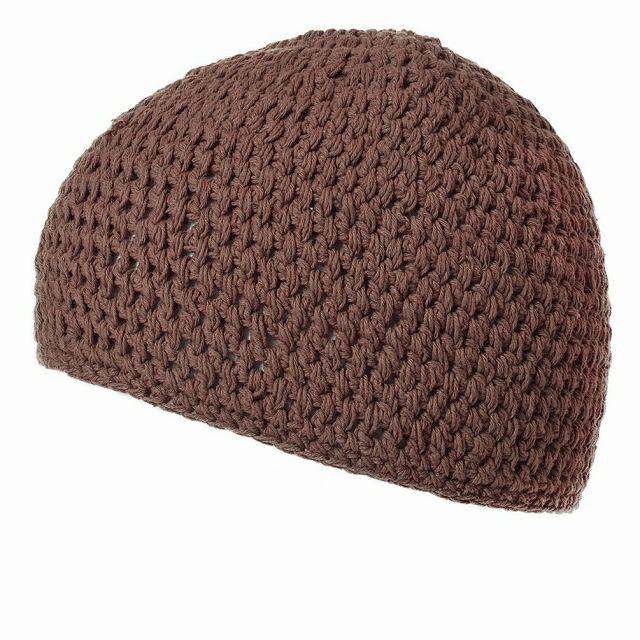 ブラウンのビックサイズ ナチュラル 手編み コットン イスラムキャップ