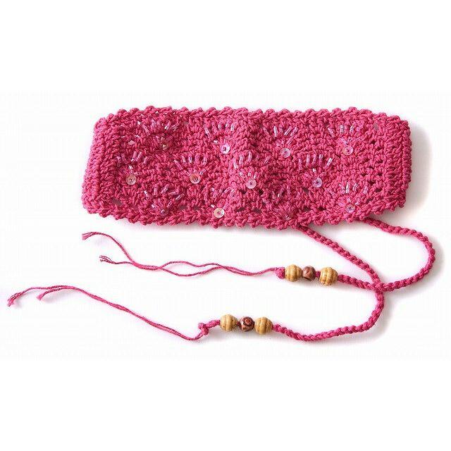 ピンクの手編み ビーズ スパンコール ニット カチューシャ ターバン ヘアバンド