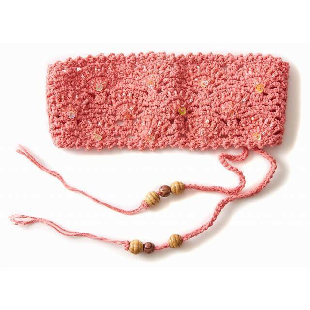 ピンクベリーの手編み ビーズ スパンコール ニット カチューシャ ターバン ヘアバンド