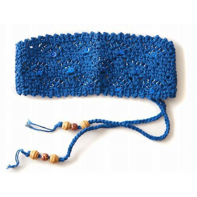 ブルーの手編み ビーズ スパンコール ニット カチューシャ ターバン ヘアバンド