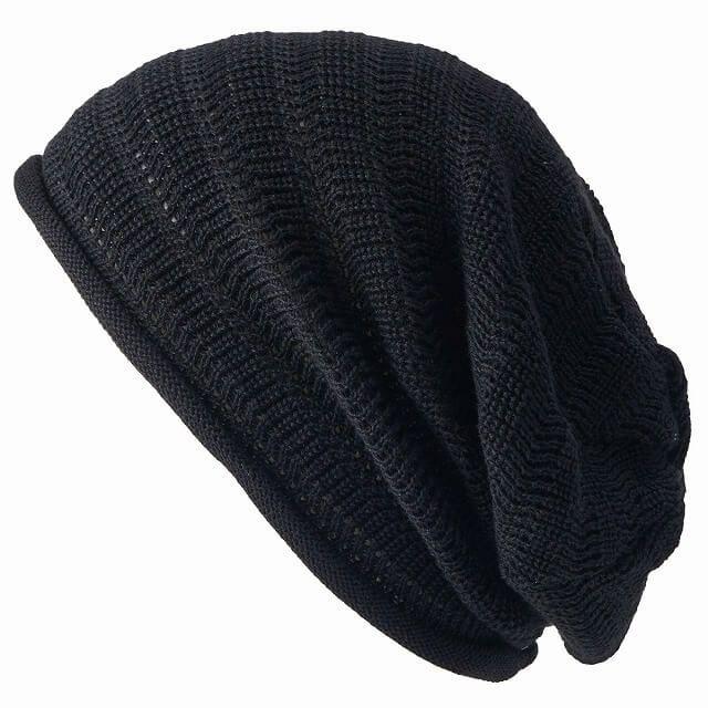 ブラックの防臭+抗菌 dralon タック加工 メッシュ ルーズワッチ   ユニセックス ニット帽 オールシーズン