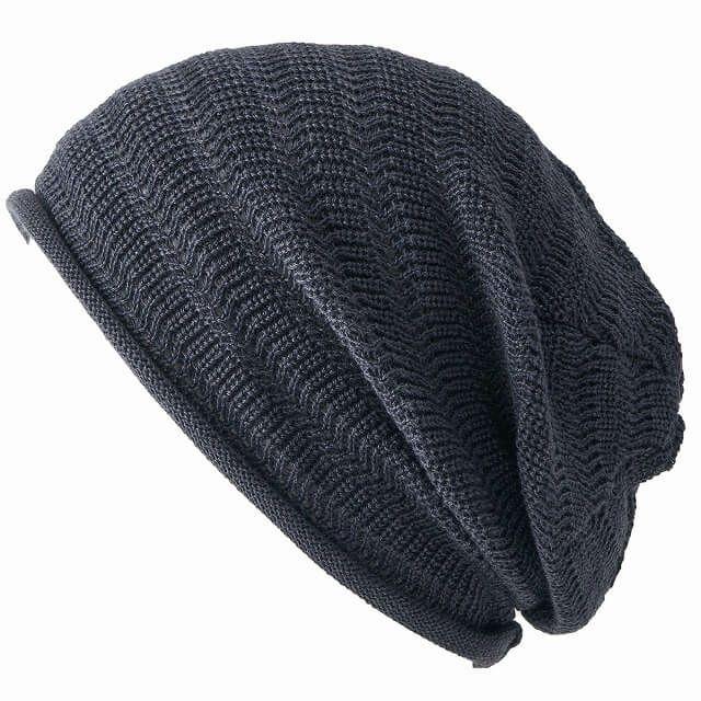 グレーの防臭+抗菌 dralon タック加工 メッシュ ルーズワッチ   ユニセックス ニット帽 オールシーズン