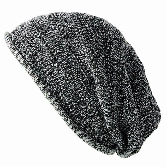 ミックスブラックの防臭+抗菌 dralon タック加工 メッシュ ルーズワッチ   ユニセックス ニット帽 オールシーズン