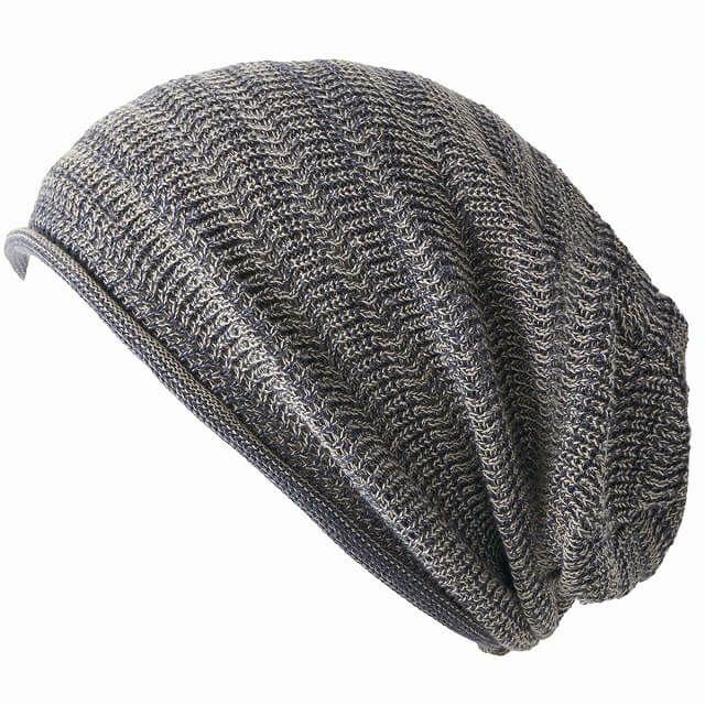 ミックスブルーの防臭+抗菌 dralon タック加工 メッシュ ルーズワッチ   ユニセックス ニット帽 オールシーズン