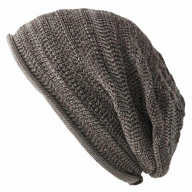 ミックスブラウンの防臭+抗菌 dralon タック加工 メッシュ ルーズワッチ   ユニセックス ニット帽 オールシーズン