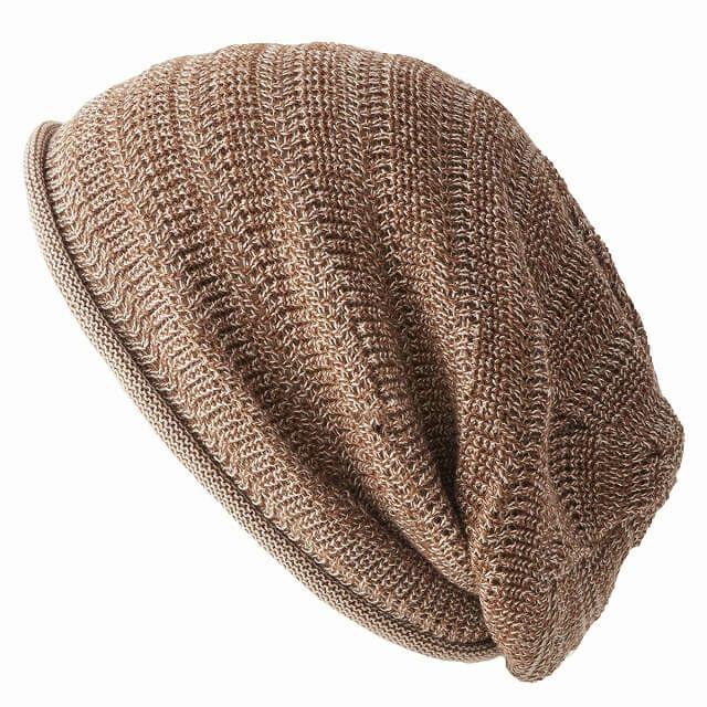 ミックスライトブラウンの防臭+抗菌 dralon タック加工 メッシュ ルーズワッチ   ユニセックス ニット帽 オールシーズン