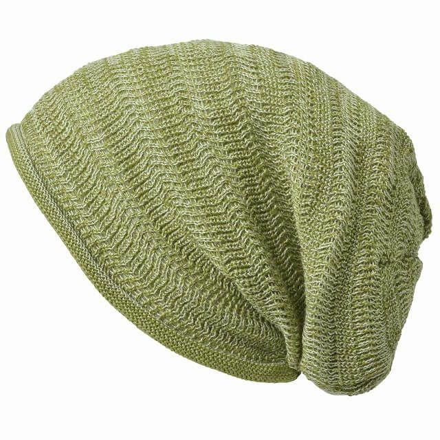 ミックスグリーンの防臭+抗菌 dralon タック加工 メッシュ ルーズワッチ   ユニセックス ニット帽 オールシーズン