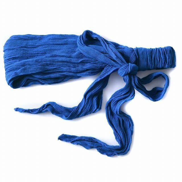 ブルーのレーヨン スカーフ ターバン ヘアバンド