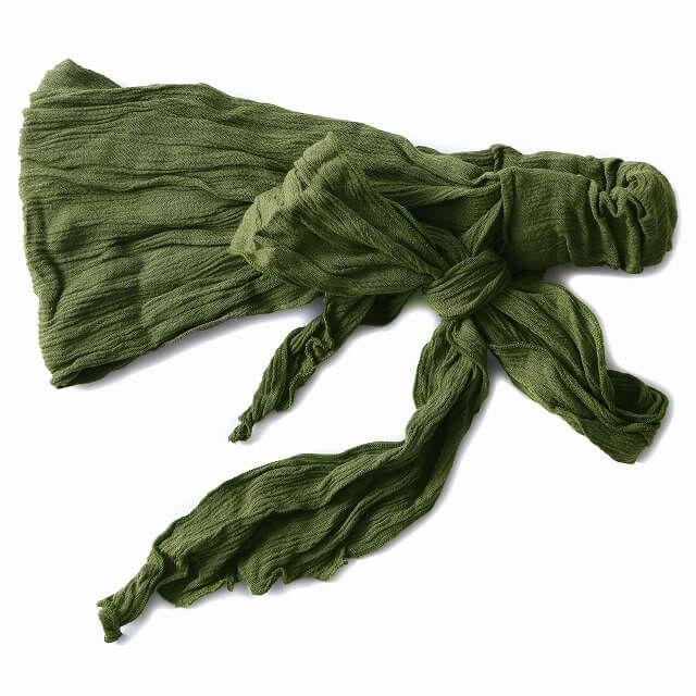 グリーンのレーヨン スカーフ ターバン ヘアバンド