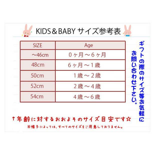 成長の早い子供の頭囲が簡単にわかるサイズ表。