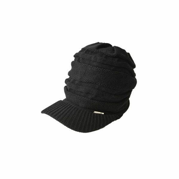 ブラックのゆったり デザイン編み ニットキャスケッ