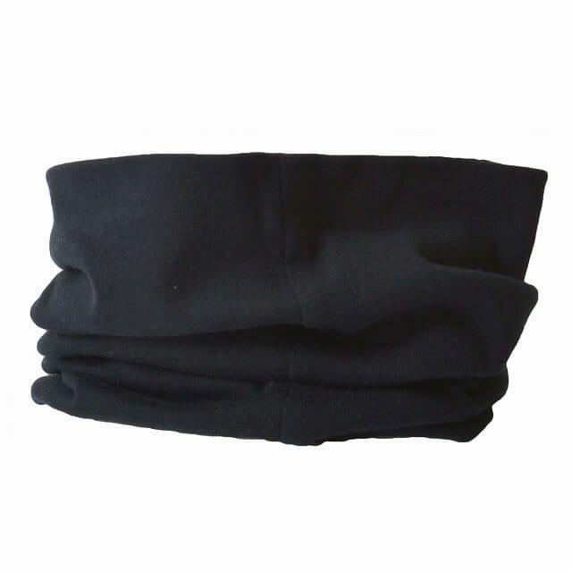 ブラックのオーガニックコットン 天竺 ロングターバン ネックウォーマー