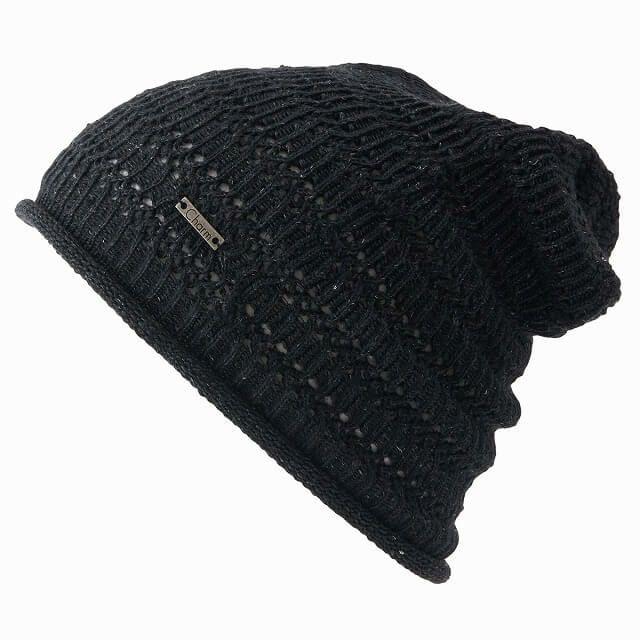 ブラックのHemp メッシュ 無縫製 ルーズワッチ | ユニセックス 春夏 日本製 麻 抗菌 SPF50 ホールガーメント