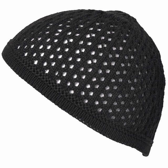 ブラックのデザイン透かし編みコットンイスラムワッチ