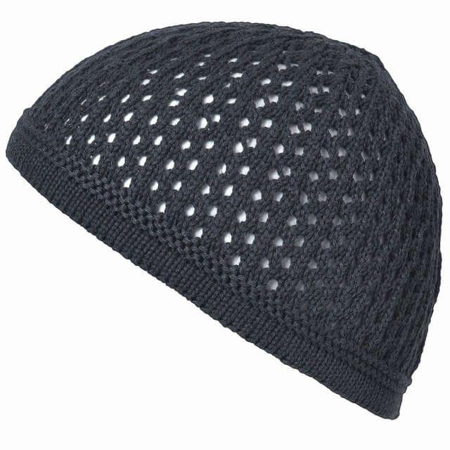 グレーのデザイン透かし編みコットンイスラムワッ