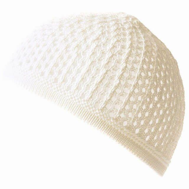 ホワイトのデザイン透かし編みコットンイスラムワッ