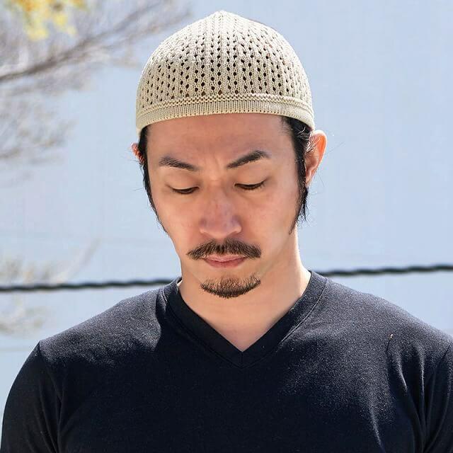 デザイン透かし編みコットンイスラムワッチ | メッシュ 春夏 ワッチ ビーニーワッチ 帽子 透かし編み シンプル