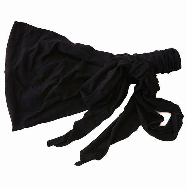 ブラックのビスコース スカーフ ターバン ヘアバンド