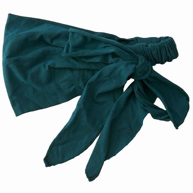ブルーグリーンのビスコース スカーフ ターバン ヘアバンド