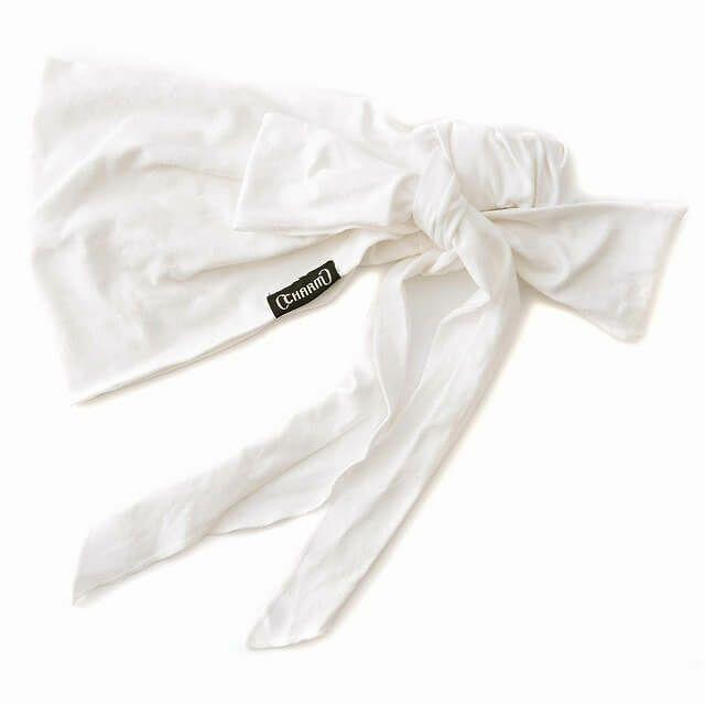ホワイトのビスコース スカーフ ターバン ヘアバンド