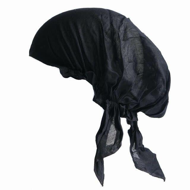 ブラックの無地 nicora ニコラ レーヨン ターバンキャップ