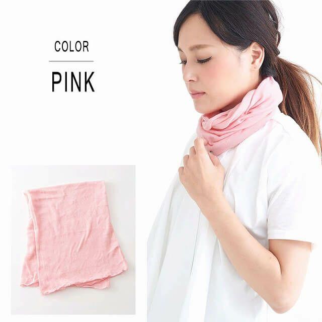 フリーサイズ、ピンクのシルク ふわふわ ネックウォーマー。