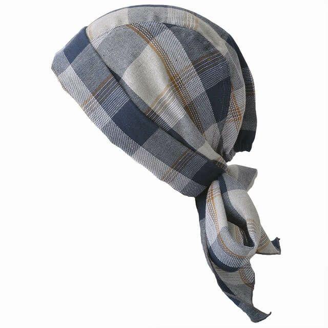 ブラックのロング バンダナ ワッチ キャップ (パターン)   ユニセックス コットン ペイズリー 医療用 三角巾