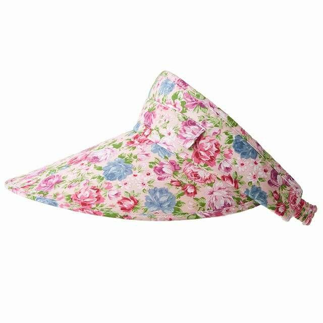 ピンクのスカーフ 日よけ付き サンバイザー