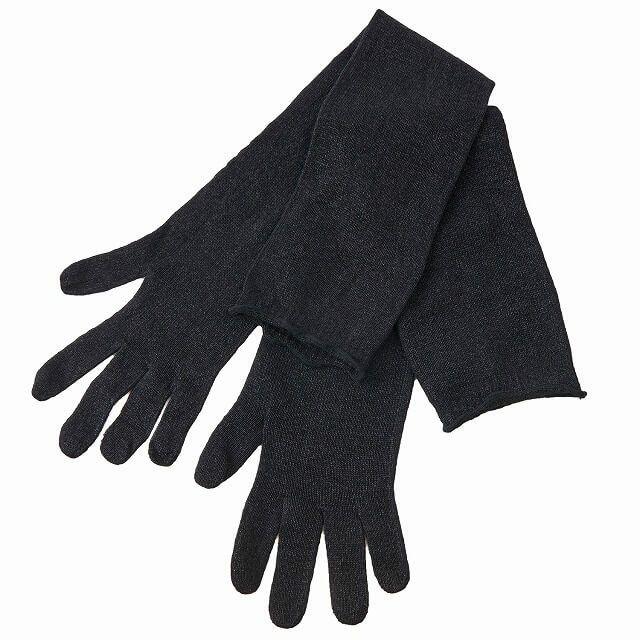 ブラックの和紙 シルク ロング アーム カバー | レディース 春夏 絹 UVカット 自転車 日焼け 涼しい ミセス アウトドア