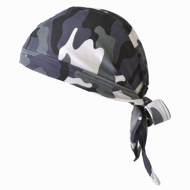 グレーのベーシック バンダナ キャップ 【CAMO】  メンズ レディース 春夏 綿 コットン 北欧 迷彩 医療用帽子 就寝用 三角巾