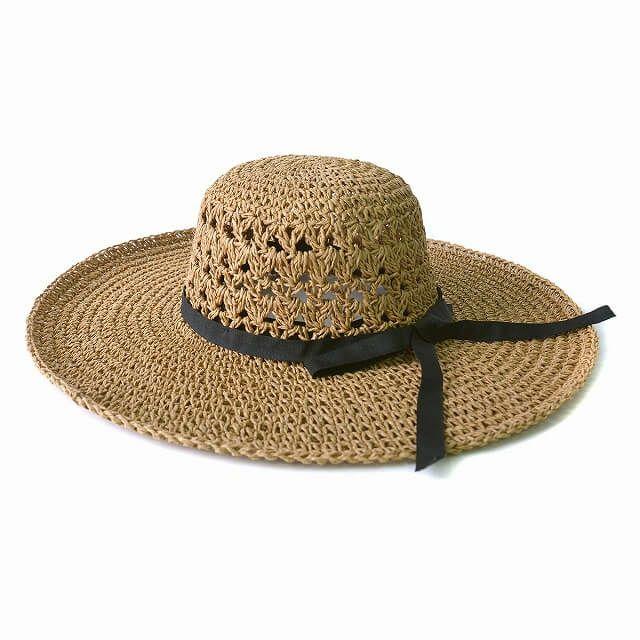 ブラウンの手編み ペーパー ロング つば広ハット