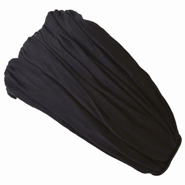ブラックのボリューム 無地 ターバン ヘアバンド